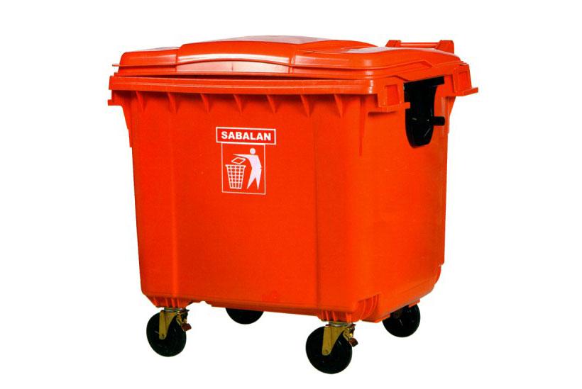 سطل زباله بزرگ درب دار 660 لیتری
