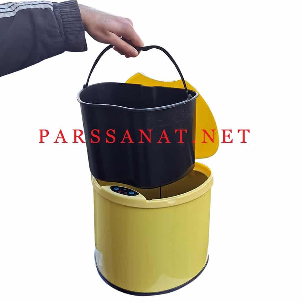 سطل زباله چشمی دار استیل رنگی مدل 6 لیتری